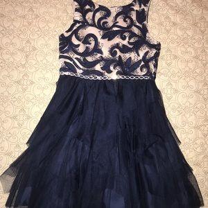 Girls Navy Blue/ Cream Party Dress